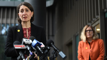 NSW Premier Gladys Berejiklian (left) and NSW Chief Health Officer Dr Kerry Chant deliver a health update on COVID-19 in Sydney on Thursday.