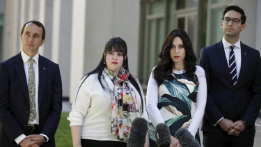 Liberal MP Dave Sharma, left, and Labor MP Josh Burns have backed alleged child sex abuse victims Dassi Erlich, second from left, and Nicole Meyer in their call for former Melbourne school principal Malka Leifer to face justice.