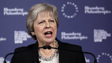 British Prime Minister Theresa May speaks at the Bloomberg Global Business Forum in New York.