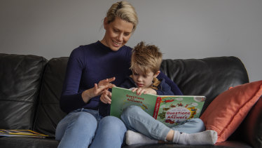 Oran Park's Mary Gabbey and her son Henry, 4, visit the library each week. 'I'm really supportive of more funding going into libraries, they're just so important,' she says.