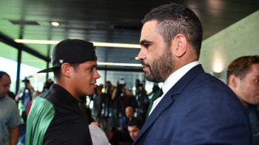 Mateship: Dane Gagai, left, farewells Greg Inglis after he announced his retirement last month.
