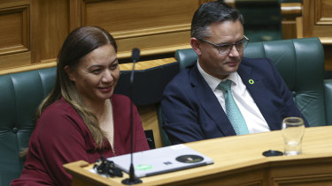 NZ Green party co-leaders  look on during the third reading of the bill in Parliament on November 7.
