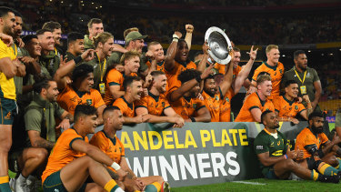 The Wallabies celebrate their second victory in a week over the Springboks.