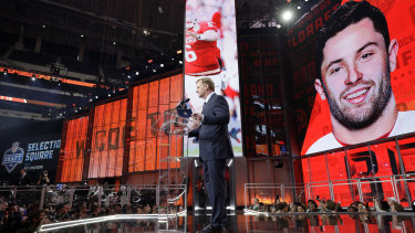 NFL commissioner Adam Goodell speaks after the Browns chose Baker Mayfield at No.1.