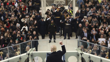 US President Donald Trump speaks at his inauguration on January 20, 2017.