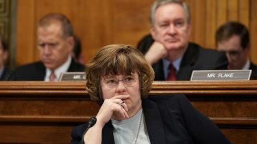 Phoenix prosecutor Rachel Mitchell listens to Christine Blasey Ford testify before the Senate Judiciary Committee.
