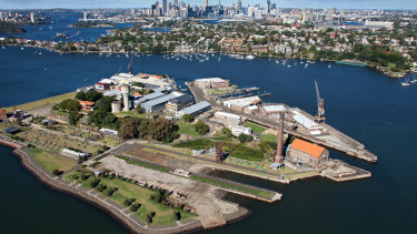 Aerial view of Cockatoo Island, managed by Sydney Harbour Federation Trust.