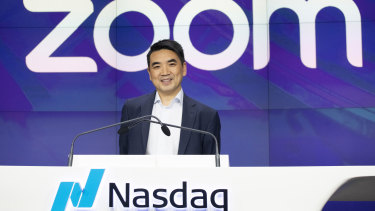 Zoom CEO Eric Yuan attends the opening bell at Nasdaq as his company holds its IPO in New York last year.