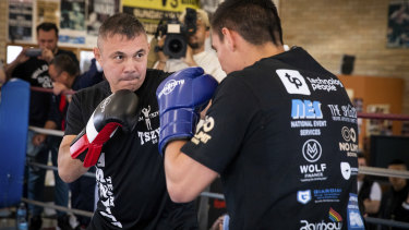 Tim Tszyu and father Kostya Tszyu train after the announcement of the boxing fight between Tim Tszyu and Jack Brubaker.