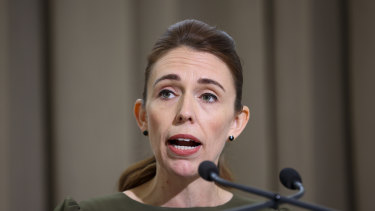 NZ Prime Minister Jacinda Ardern speaks to reporters during a media lock-up ahead of the release of the Royal Commission of Inquiry into the Christchurch mosque attacks.