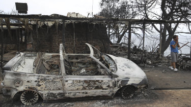 A burnt-out car near Mati.