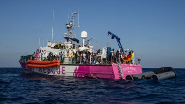 The Louise Michel rescue vessel with people rescued on board.
