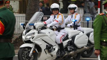Kim Jong-un's convoy leaves Melia Hotel Hanoi on Tuesday.