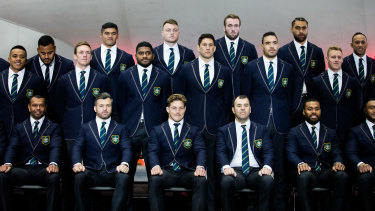 The Wallabies squad assembling in Sydney on Friday morning.