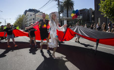 Zodiac wore high heels and a white outfit to help the indigenous First Nations group lead the Midsumma Pride March.