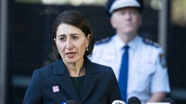 NSW Premier Gladys Berejiklian updates the media on Friday morning.