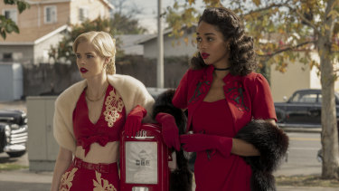 Australian actress Samara Weaving stars as Claire Wood and Laura Harrier (right) stars as Camille Washington in Hollywood.