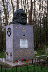 Karl Marx's grave and bust at Highgate Cemetery before the attack.