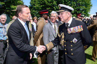 Former PM Tony Abbott with Prince Philip in 2014; the following year, he granted the British royal a knighthood on Australia Day. Turnbull says in his book that when he first heard reports of this, he assumed it was a joke.