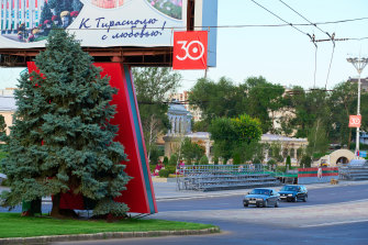 A shot of downtown Tiraspol,which does not regard itself as part of Moldova. It is, instead, the self-styled capital of Transnistria.
