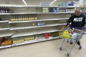 The freight crisis has led to shortages of basic goods on UK supermarket shelves.