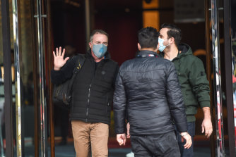 Patrick Enright (left) finishes his two-week hotel quarantine at the end of June.