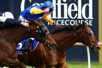 Brad Rawiller rides Black Heart Bart to victory in Sunday's Underwood Stakes at Caulfield.