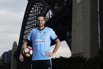 Bobo poses at his first Sydney FC unveiling in September 2016. The Brazilian is back at the club for a second stint.