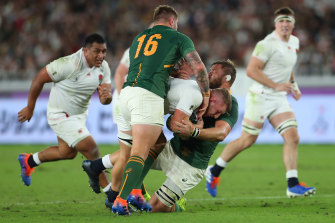 Duane Vermuelen makes a tackle in the Rugby World Cup final in 2019.
