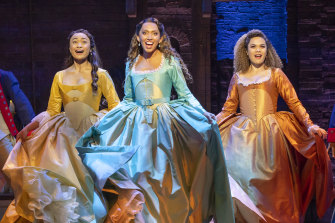 Elandrah Eramiha, Chloe Zuel (middle) and Akina Edmonds, who play the Schuyler sisters, in full costume for Hamilton.