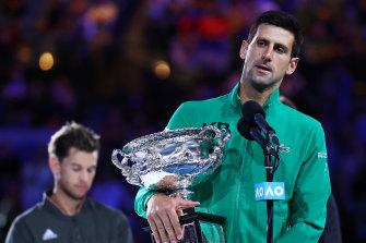 2020 Australian Open men's champion Novak Djokovic. The 2021 tournament remains uncertain.