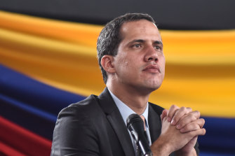 The situation in Venezuela has become increasingly tense, with National Guards forces loyal to Nicolas Maduro blocking Juan Guaido, pictured, and his supporters from entering parliament.
