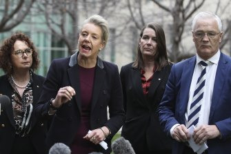 Nationals MP Anne Webster, Senators Bridget McKenzie and Perin Davey, with MP Damian Drum addressing media after the party moved in the Senate to halt water recovery under the Murray Darling Basin Plan.