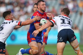 David Klemmer was part of a full-strength Knights side that hammered the Roosters on Saturday night.