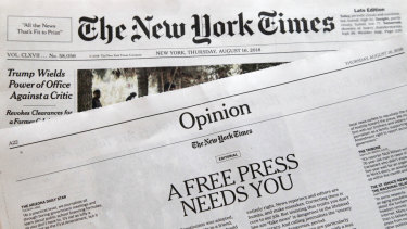 """An editorial titled """"A Free Press Needs You"""" is published in The New York Times on August 16, in coordination with the Boston Globe."""