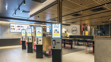 McDonald's outlets will have a more modern look with digital kiosks, a mobile app ordering capability and dual drive-through lanes.