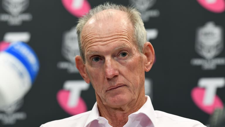Unamused: Wayne Bennett after the Broncos lost to the Dragons.