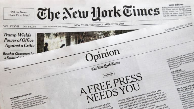 "An editorial titled ""A Free Press Needs You"" is published in The New York Times on August 16, in coordination with the Boston Globe."