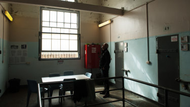 Author Patrick Kennedy looks at the old gallows in Long Bay Prison.