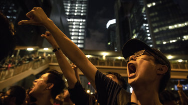 Protesters call on Hong Kong's chief executive, Carrie Lam, to resign.