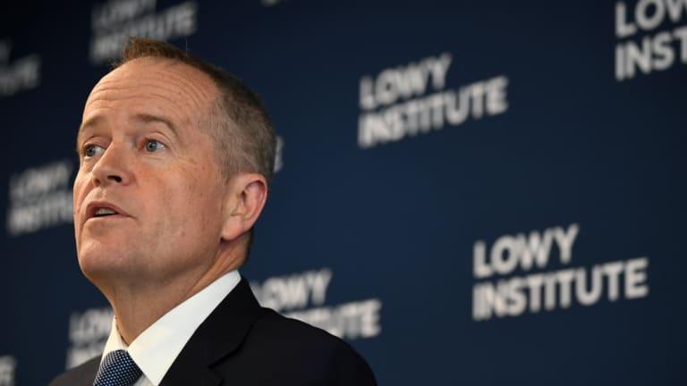 Bill Shorten speaking at the Lowy Institute on Monday.