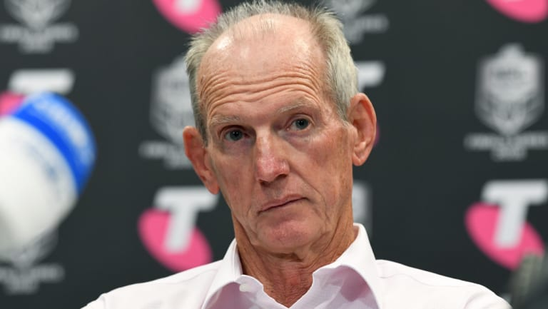 Unamused: Wayne Bennett after the Broncos lost to the Dragons in this year's finals series.
