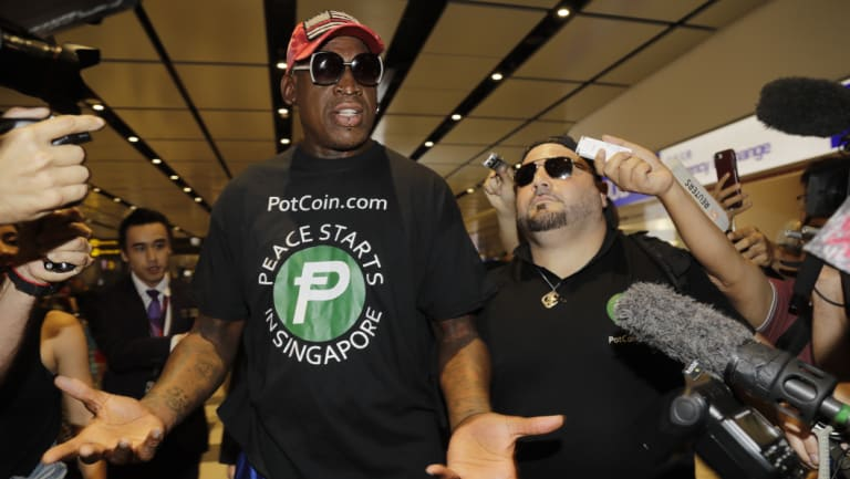 Dennis Rodman, NBA player and friend Kim Jong-un, arrived in Singapore ahead of the summit.