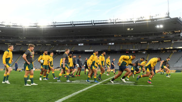 The Wallabies bounced through their captain's run, but no players fronted the media.