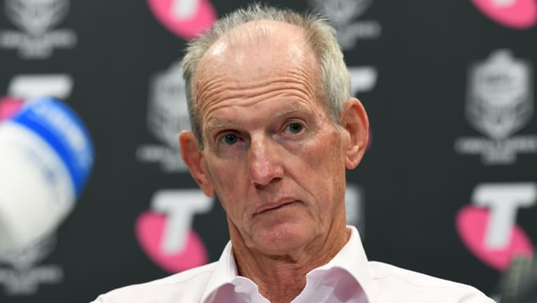Unamused: Wayne Bennett took exception to questions related to Andrew Gee on Sunday.