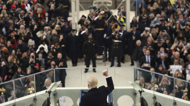 US President Donald Trump speaks at his inauguration on January 20, 2017.