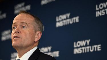 Bill Shorten speaking at the Lowy Institute.