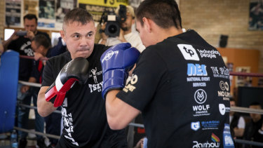 Tim Tszyu and father Kostya Tszyu train after the announcement of the boxing fight between Tim Tszyu and Jack Brubaker.