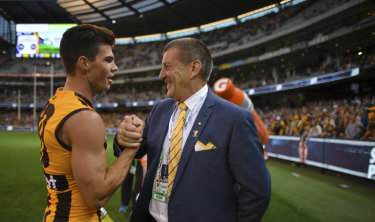 Hawthorn president Jeff Kennett with Jaeger O'Meara.