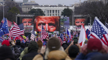 Trump supporters in Washington before the violence erupted at the Capitol.